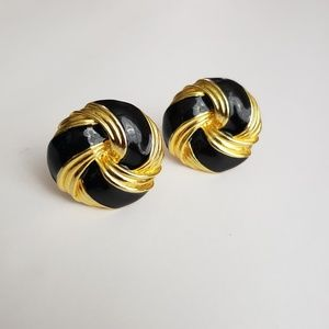 Vintage Gold and Black Clip On Button Earrings
